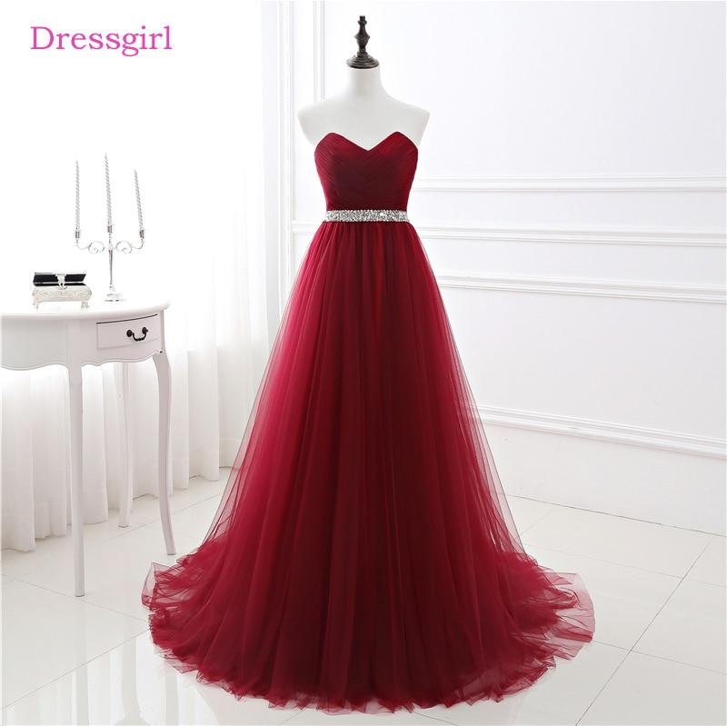 Burgundy   Evening     Dresses   2017 A-line Sweetheart Tulle Beaded Elegant Women Long   Evening   Gown Prom   Dress   Robe De Soiree