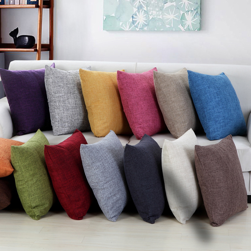 45x45cm Sofa Solid Color Cushion Cover Yellow Grey Cotton