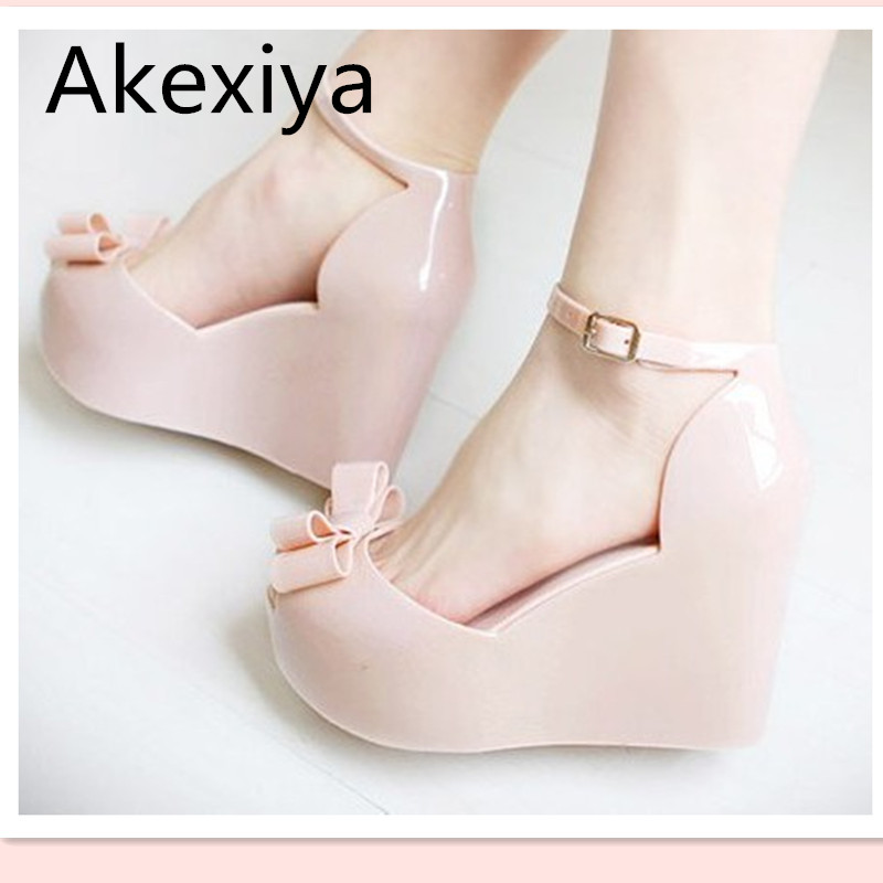 Akexiya Wedges female sandals 2017 color jelly shoes bow platform open toe high heeled shoes