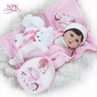 NPK 2019 New desigen Baby Girl Reborn Dolls Kids Toy Full Silicone Vinyl 22'' 50 cm Real Life Baby Reborn Alive Doll