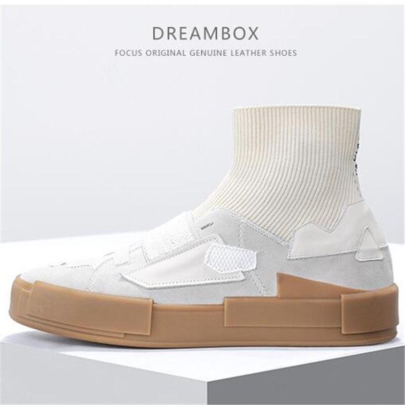 Nova bolsa em couro genuíno com Elasticidade material de tricô meias respiráveis confortáveis sapatos casuais homens Sapatos baixos