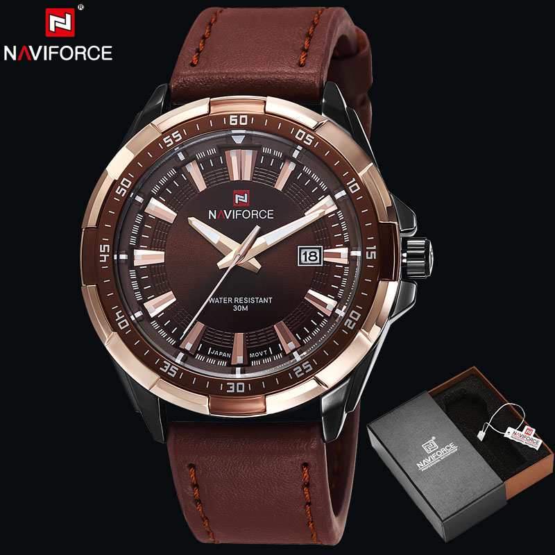 NAVIFORCE Original Luxury Brand Fashion Sport Quartz Watch Men Waterproof Leather Wristwatch Military Clock Relogio Masculino