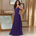 Nuevas correas de la llegada de dama de honor larga una línea púrpura vestido de la dama de honor del banquete de boda plisado vestidos