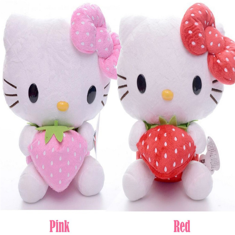 Adorable Bowtie Kitty Red Pink Strawberry Hello Kitty Cat Plush Fruit Home Car Decors Girls Toy Doll 8'' Brand New