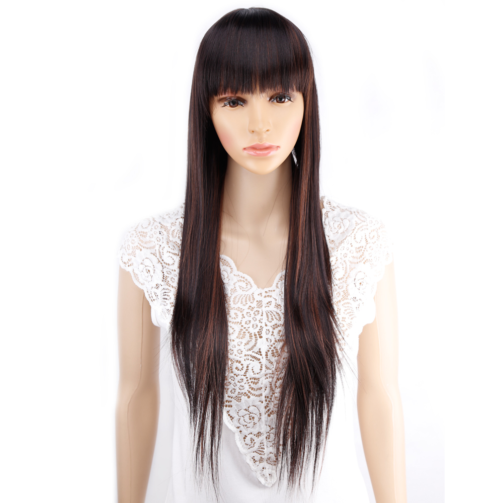 Amir 11 Colors Synthetic Long Straight Natural Hair Wigs With Bangs Womens African American Hair Brown Blonde Black Color