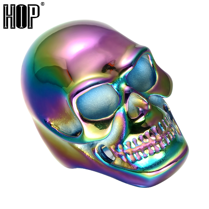 HIP Punk Gothic Multicolor Plated Titanium Stainless Steel Skeleton Skull Rings for Men Jewelry