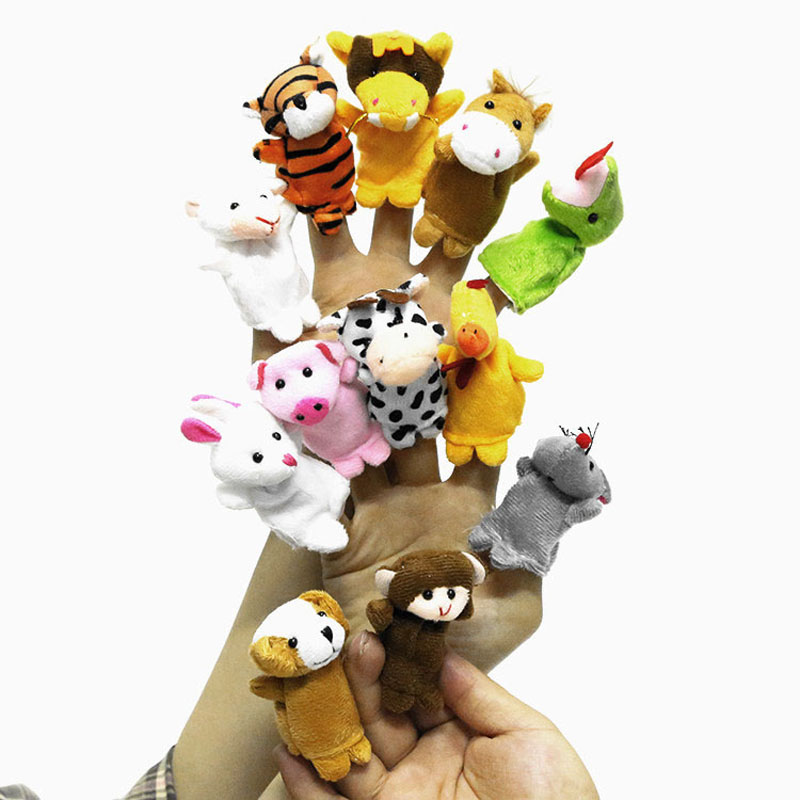 12 Pcs/lot Mini Plush Baby Toy Animal Family Finger Puppets Set Zodiac Boys Girls Finger Puppets B0939