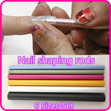 6 Pcs Nail Art Tools Different Size Curve Rod Sticks Artificial Nail Tool Free Shipping NR