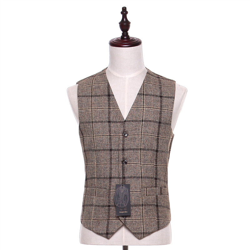wedding : new  Design Mens Classic Suits Gray Plaid Fabrics Mens Suits Wedding Groom Tuxedo Double Breasted Mens Formal Wear Business Suit