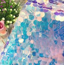 45*130cm color laser encryption fish scale lace beads sequins fabric dress diy textiles wedding cloth mesh C583