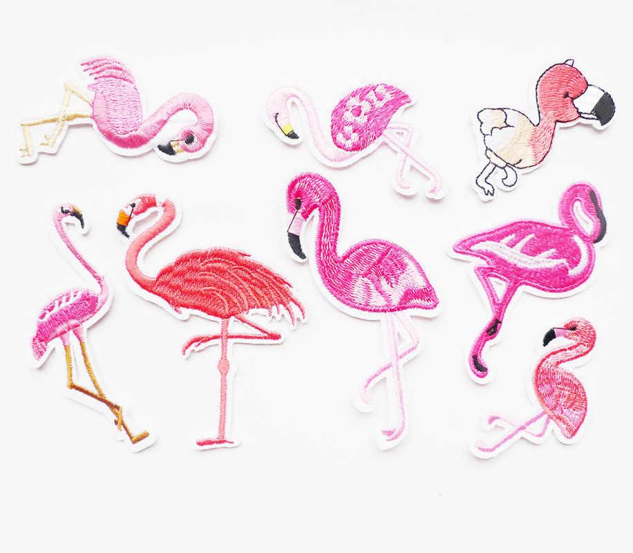 Parches bordados con diseño de pájaro y animales para planchar, parches para ropa DIY con diseño de flamenco y rayas, adhesivos para ropa vaquera, apliques, insignias bordadas