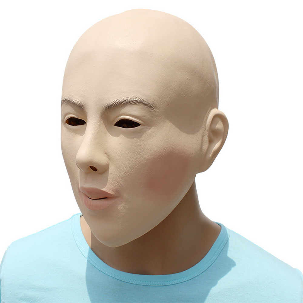 Realistic Female Bald Face Mask Latex Cosplay Mask Halloween Prop Funny
