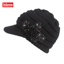 UNIKEVOW New arrival beanie  Casual hat with handmade flower for Women Hip-hop cap autum spring winter ladies hats