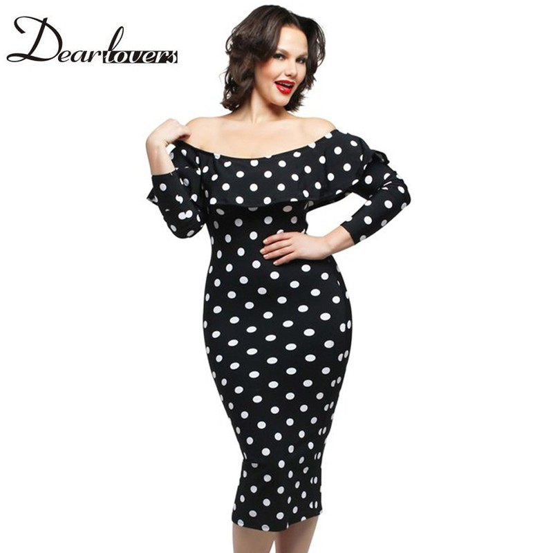 Dear Lover White Polka Dot Ruffle Off Shoulder Neckline Long Sleeves Dress LC61220