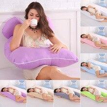 임신 한 여성을위한 잠자는 지원 베개 바디 코튼 베개 케이스 U 모양 출산 임신 베개 사이드 슬리퍼 침구