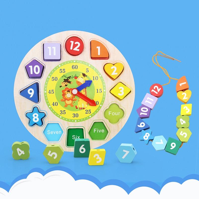 Baby 12 Aantal Houten Speelgoed Puzzel Digitale Geometrie Klok Houten Blokken Speelgoed Educatief Speelgoed Brinquedos Menino Houten Speelgoed