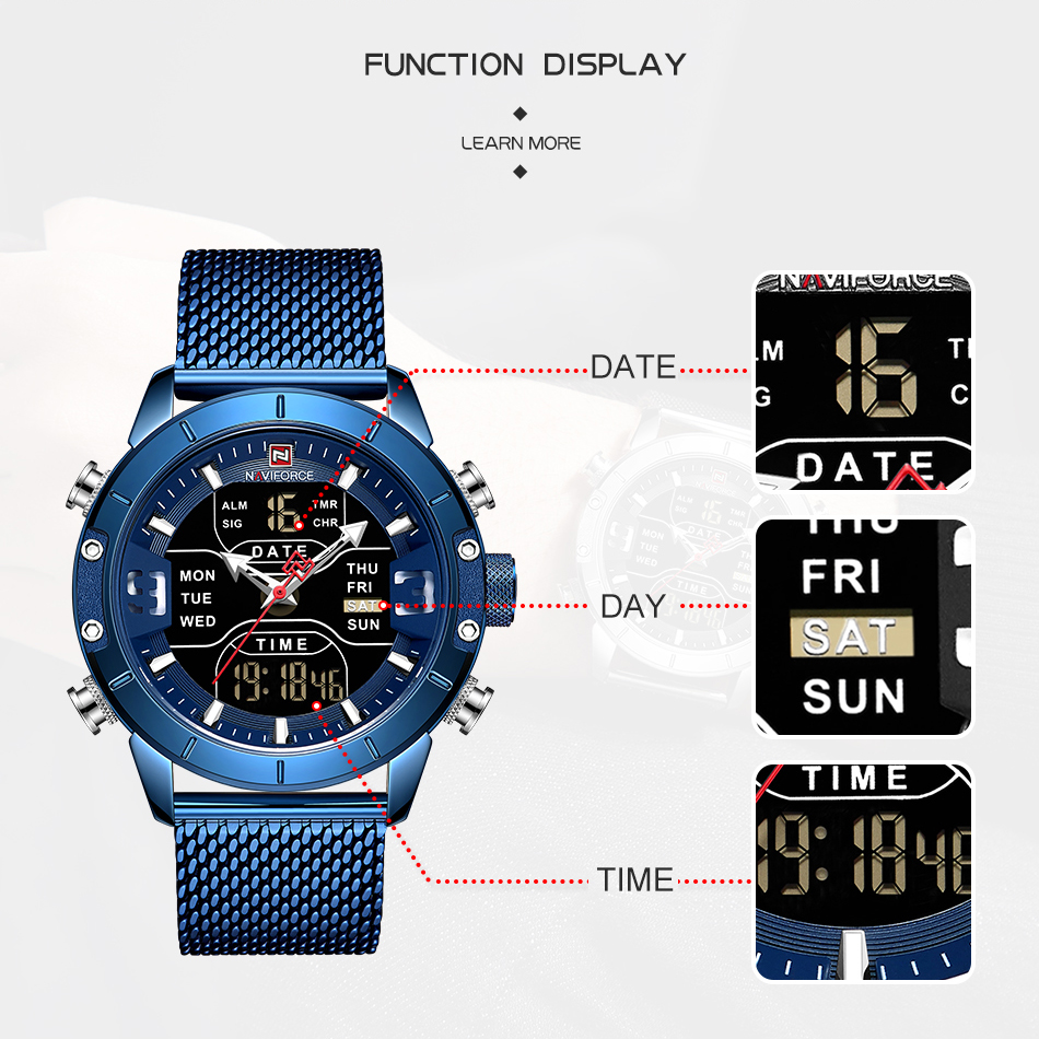 Image 4 - NAVIFORCE New Top Luxury Brand Stainless Steel Sports Men Watch Army Military Dual Display Waterproof Watches relogio masculino-in Quartz Watches from Watches