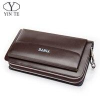 YINTE Fashion Men's Clutch Wallets Leather Men Zipper Wallets Business Brown Hand Bags Passport Purse Men Portfolio T022 2