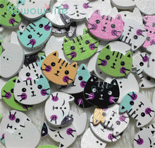200pcs/a pack Cute Cartoon Colored Kitten Buttons Children Sweater Decorative Wooden Green