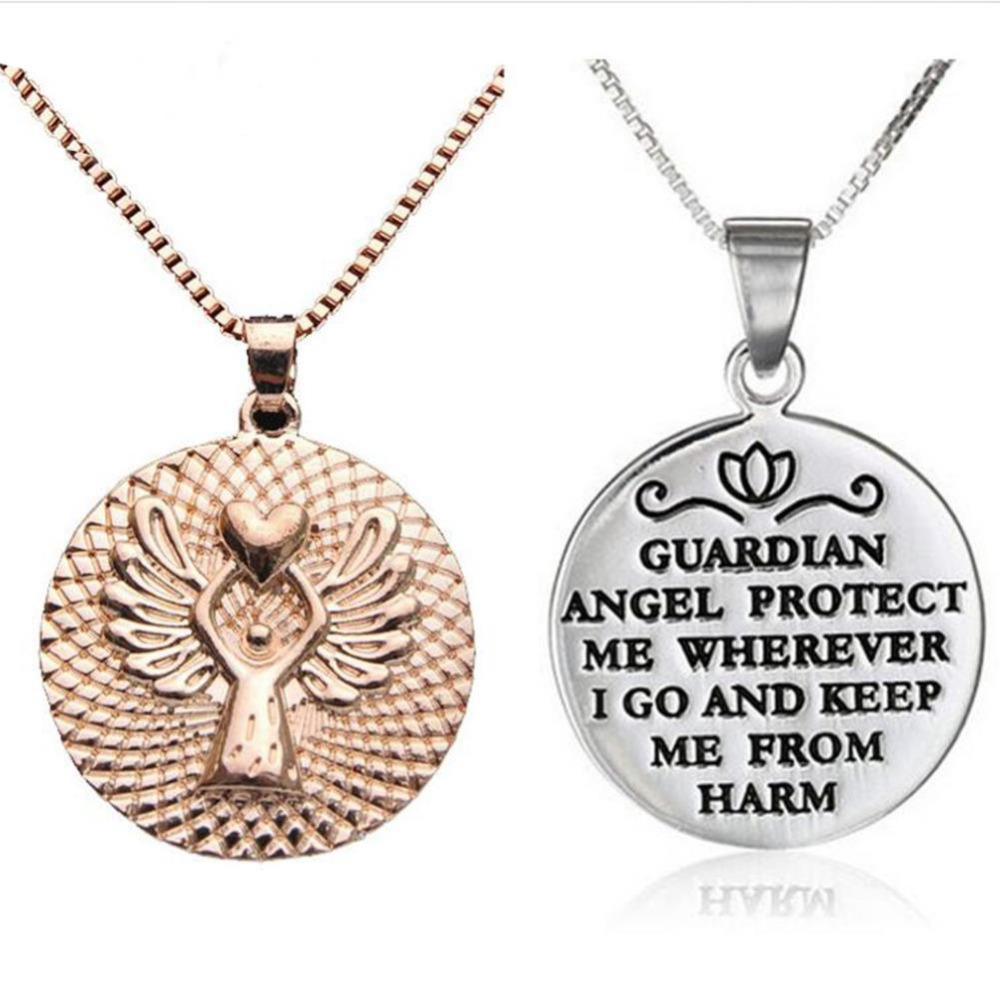 Silver Gold Color Pendant Necklace GUARDIAN ANGEL PROTECT ME WHEREVER I GO AND KEEP ME FROM HARM Angel Print Jewelry Gift