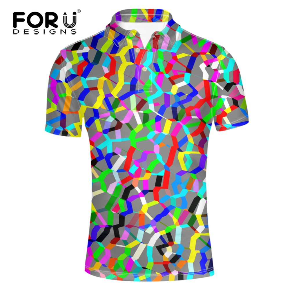 FORUDESIGNS   Polo   Shirt Hot Sale Fashion Men 2018 Summer Short Sleeve Turn-down Collar   Polos   Hombre Men's New Colorful Plus homme