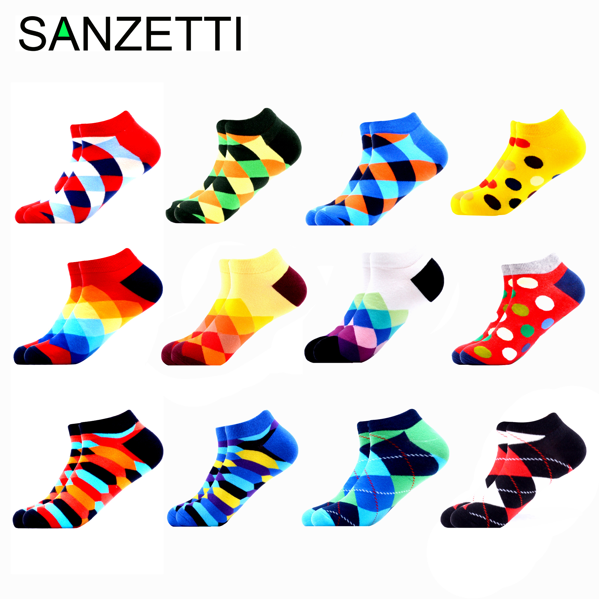 SANZETTI 12 Pairs/Lot Men Casual Colorful High Quality Combed Cotton Socks Breathable Fashion Boat Socks Happy Funny Gift Socks