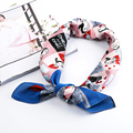 Girl decorating small square silk scarf women luxury scarves stripe bandana high fashion ladies Foulard Neckerchief kerchief