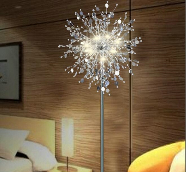 Crystal Living Room Stand Floor Lamp Modern Flower Floor Light For Bedroom  Foyer Nordic American Style
