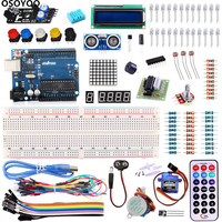 OSOYOO 1 Set Upgraded Starter Kit For Arduino UNO R3 Learning Basic Suite With Breadboard JumperWire Stepper Motor For Arduino