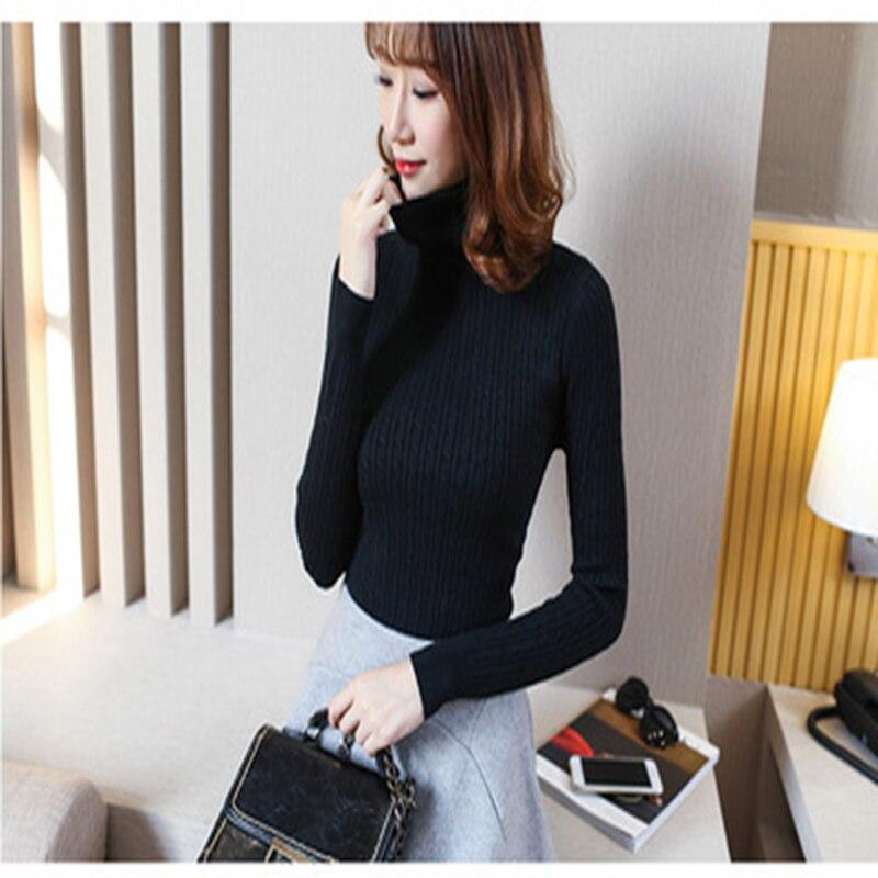 Style coréen nouveau col roulé tricoté pull femmes chandail plein solide coton chandail régulier paragraphe haut d'automne 220 - 5