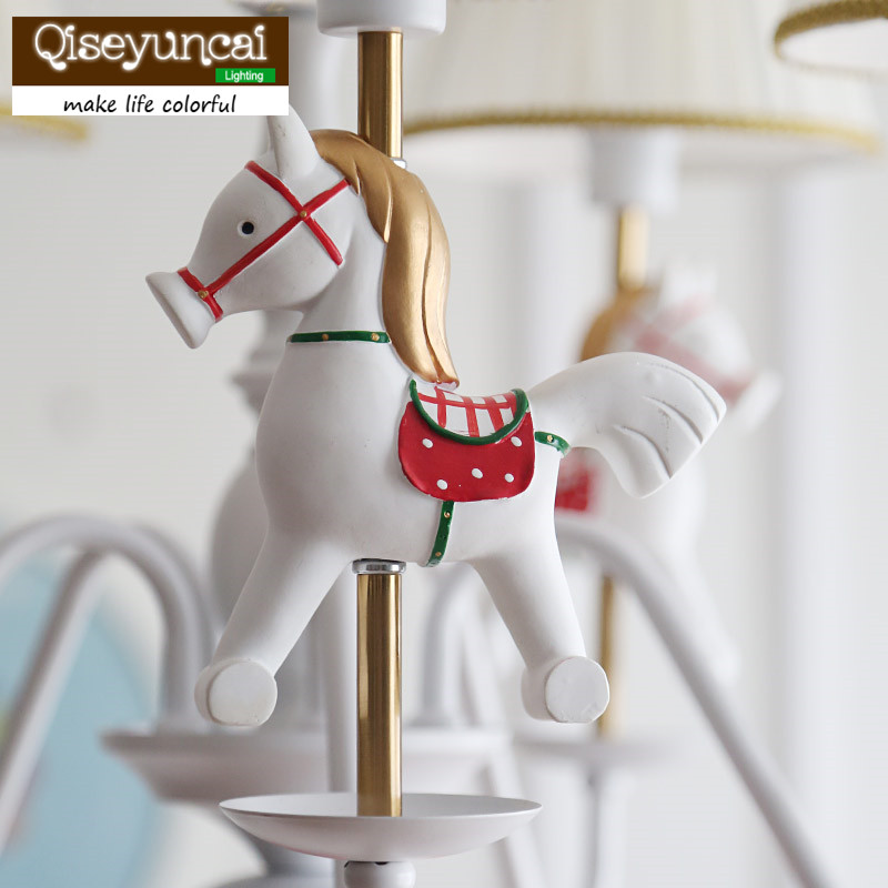 Qiseyuncai American children's room wooden horse chandelier boy girl bedroom model room princess room lighting qiseyuncai american children s room england soldier legion wall lamp boy girl bedroom lighting free shipping