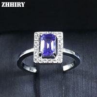 Real Blue Tanzanite Ring 925 Sterling Silver Plated Platinum Gold 100 Natural Gemstone Wedding Woman Jewelry