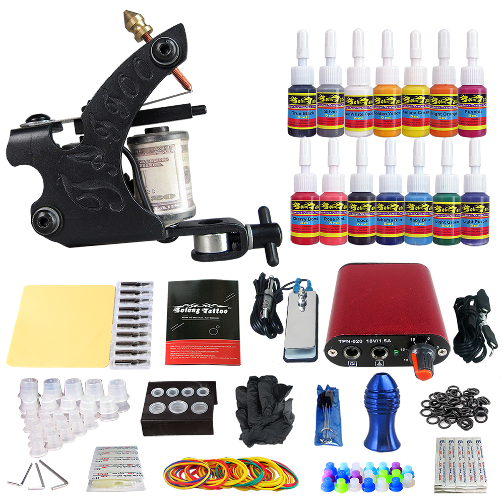 Tattoo Complete Kit Coil Tattoo Machine Guns 14 Inks Power Supply Foot Pedal Switch Needle Grips Tips Set solong tattoo complete tattoo kit 2 pro machine guns 54 inks power supply foot pedal needles grips tips carry case tk259