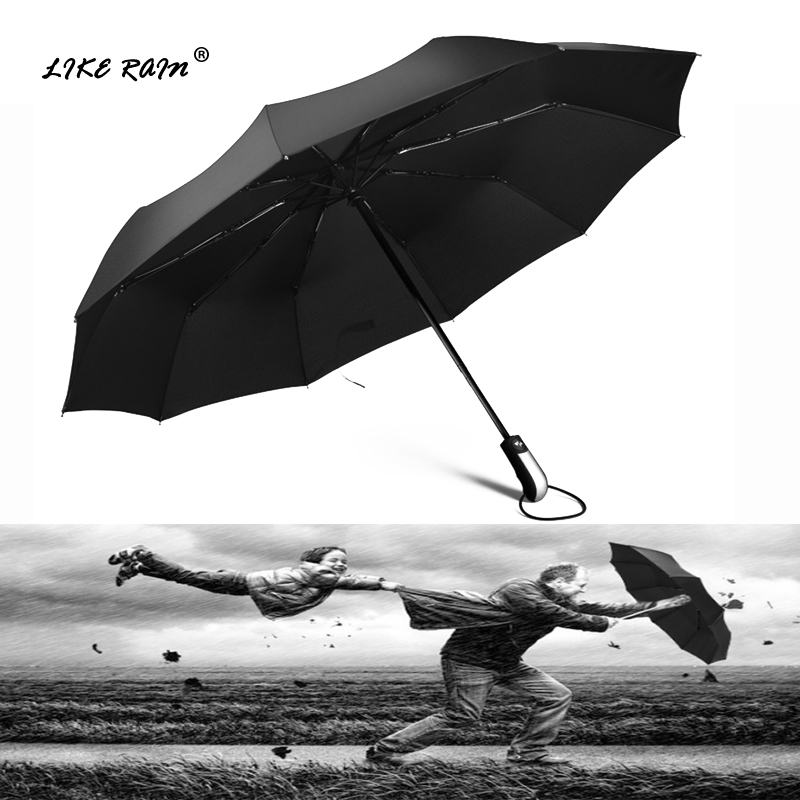 LIKE RAIN Large Strong Frame Umbrella Windproof Travel Three Folding Umbrellas Rain Women Quality Brand Golf Umbrella UBY10