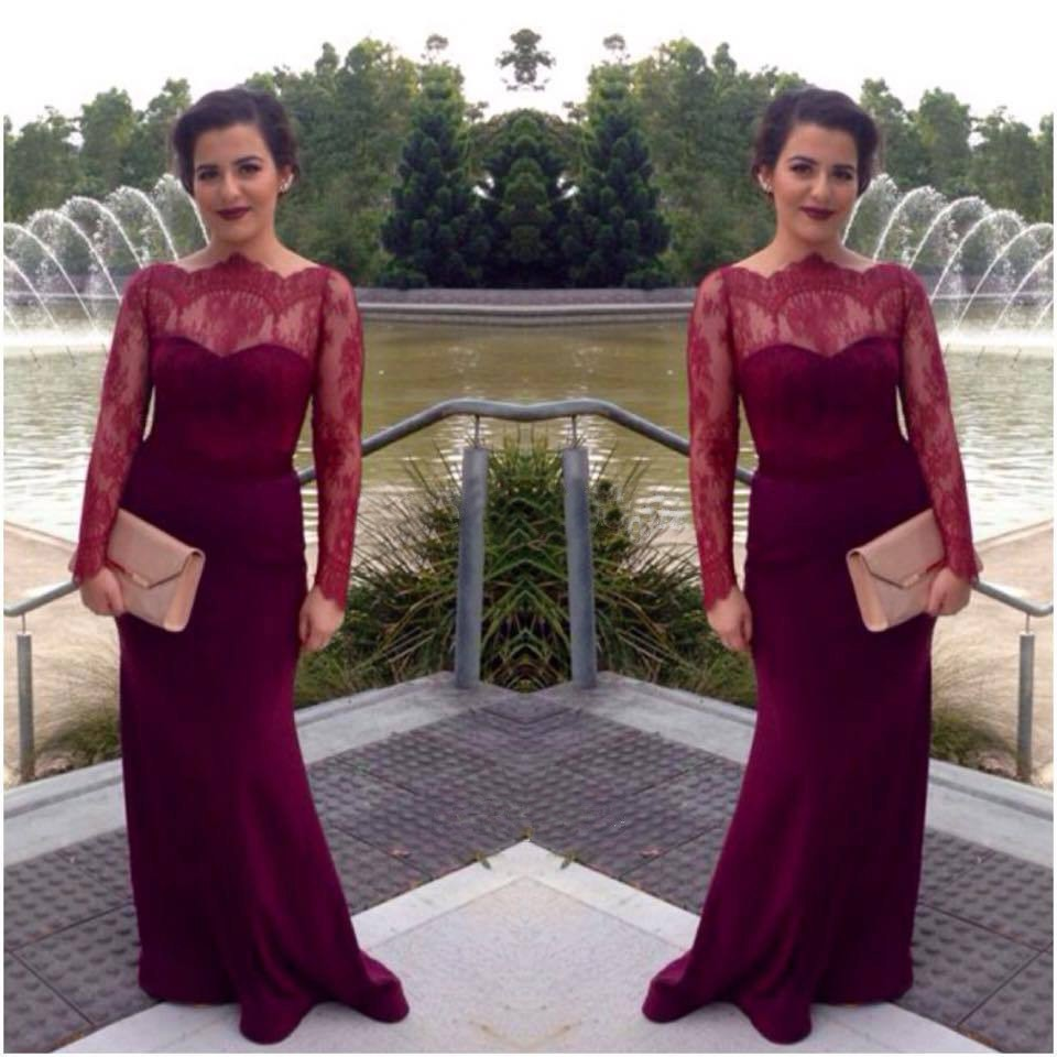 2015-Vestidos-Mermaid-Long-Sleeves-Wine-Red-Prom-Dress-Evening-Women-Dress-With-Lace-And-Satin