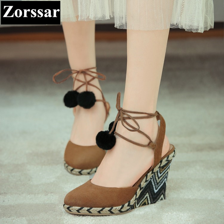 2017 NEW Summer Women Shoes Platform Wedges Sandals High Heels Fashion Cross strap Casual Suede Womens peep toe Heels Pumps plus size 2017 new summer suede women shoes pointed toe high heels sandals woman work shoes fashion flowers womens heels pumps