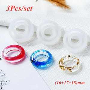 3Pcs/set Flexible Assorted Silicone Ring Mold For Making Resin Epoxy Jewelry DIY Tools Transparent Round Shape Hot Selling