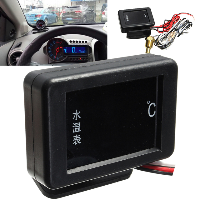 US $7 46 41% OFF|Universal DC 12V/24V Digital LED Car Water Temperature  Gauge Kit 17mm Sensor Cable Probe Racing Automobile Water Temper Meter-in