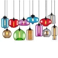 12 Shapes Colorful Led Pendant Lights Postmodern Glass Lamp luminaire plafonnier suspension Hanglamp AC110 240V E27 Edison bulb