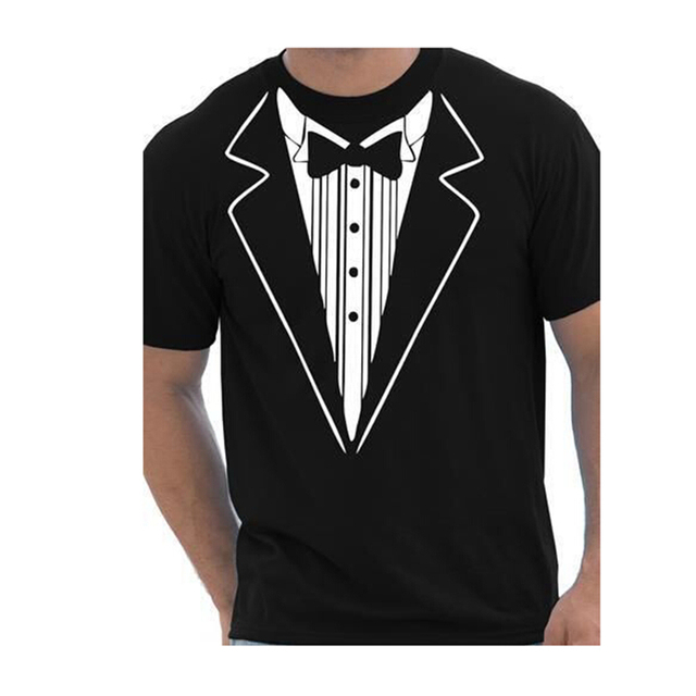Tuxedo Fancy Funny Mens T-Shirt Sumemr Bows Print Brand T Shirts Tee Shourt Sleeve Cotton Casual Printed tee shirt homme F10826