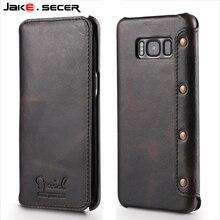 Для Samsung Galaxy S8 Дело Кожаный Бумажник Флип Случаи Роскошный Чехол для Samsung S8 Плюс Черная Натуральная Кожа Телефоны, Аксессуары