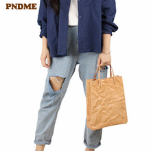 PNDME retro simple designer handmade genuine leather ladies tote casual soft cowhide shoulder bag womens shopping handbag