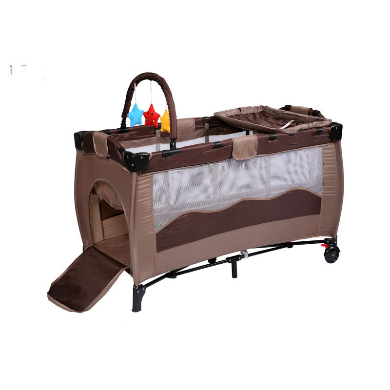 2017 Coffee Comfortable Infant Baby Cartoon Crib  High-profile European Baby Foldable Playpen Baby Bed With Package Wholesale