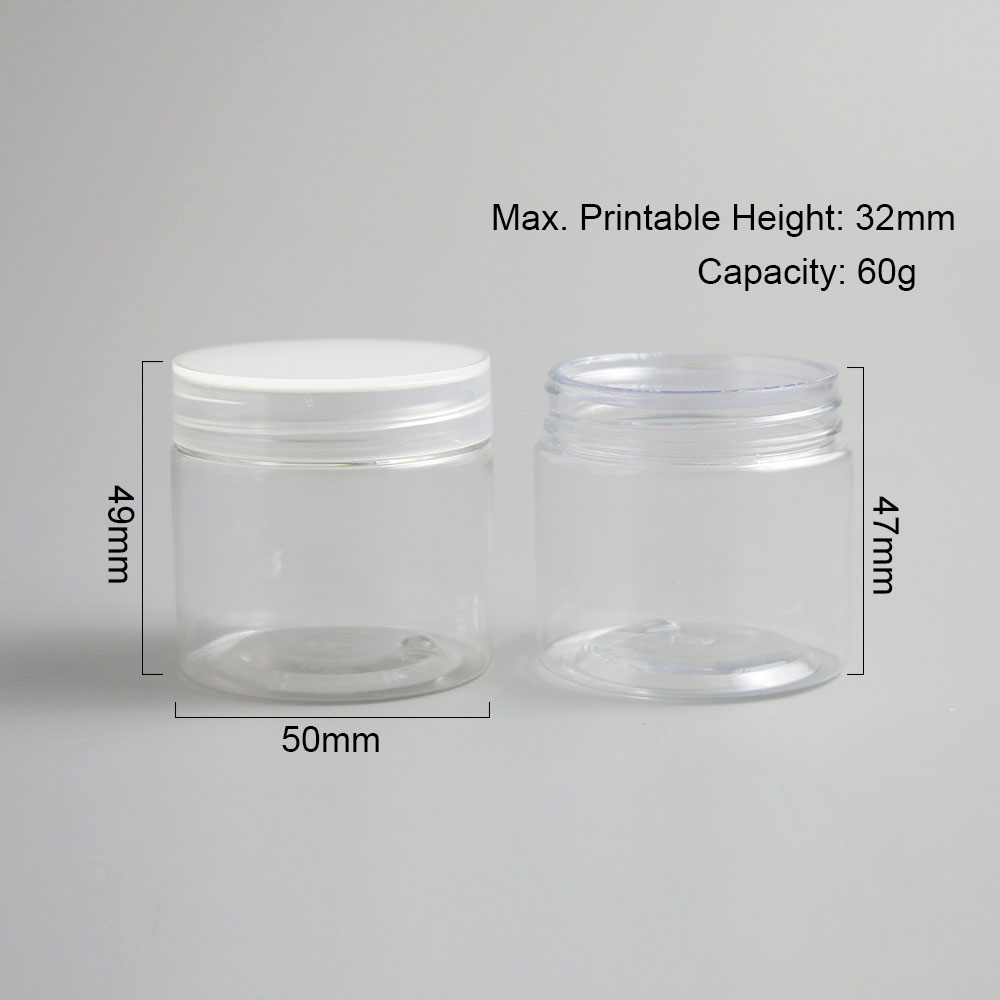 Image 5 - 30pcs Empty Clear Plastic Round Cream Lotion Jar bottle with black white Lids screw cap 60g 60ml 2oz Cosmetic Sample Containers-in Refillable Bottles from Beauty & Health