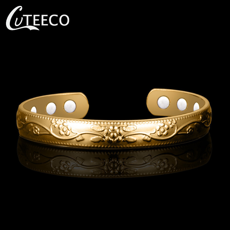 CUTEECO Dropshipping Gold Pattern Magnetic Copper Bangle Bracelet Healing Bio Therapy Arthritis Pain Relief Jewelry Gifts in Bangles from Jewelry Accessories