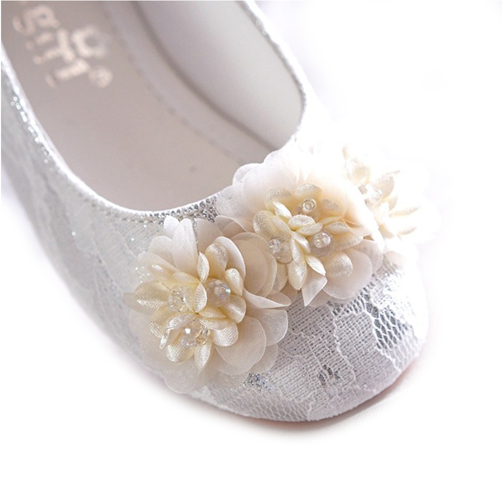 Wisstt Lace Shoes Gorgeous Wedding Flower Girl Shoes Pink Silver