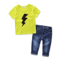 New Baby Boys Clothing Sets Kids Summer Character O-neck Cotton T-shirt +Jeans 2 Piece Children Clothing Set