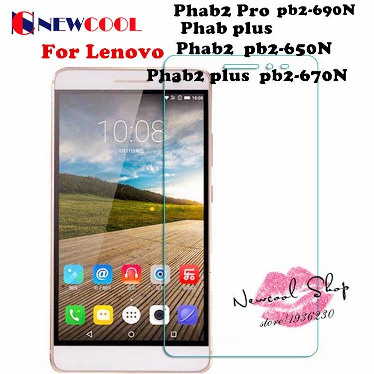 imágenes para 10 unids/lote newcool para lenovo phab2 phab 2 pro plus protector de pantalla de cristal templado película protectora de seguridad pb2-670n pb2-690n
