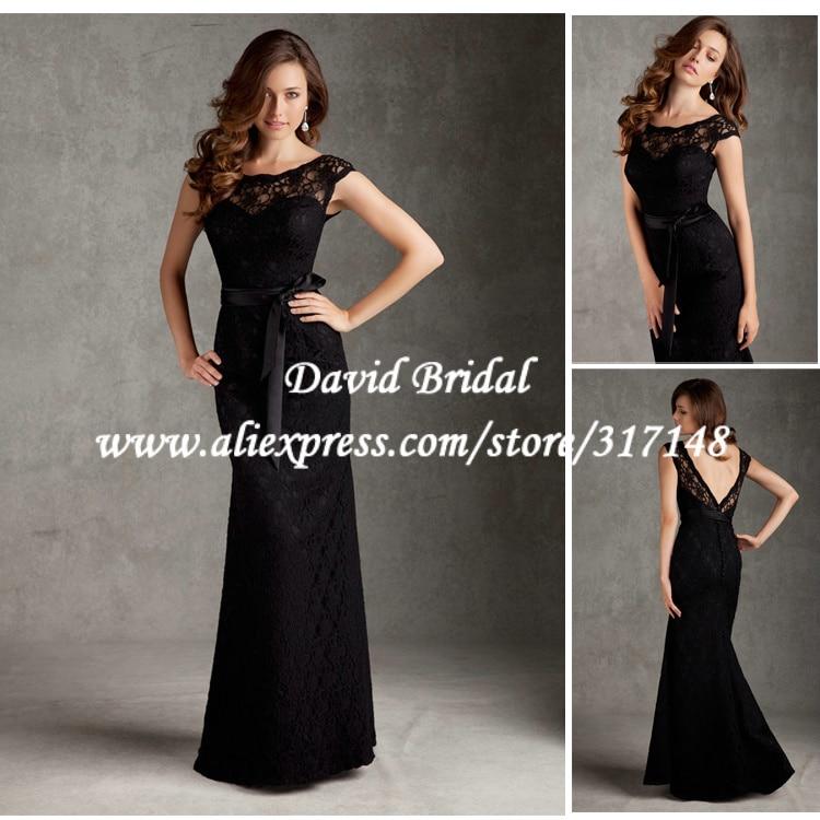 Online Shop Floor Length Sheath Open Back Black Lace Bridesmaid ...