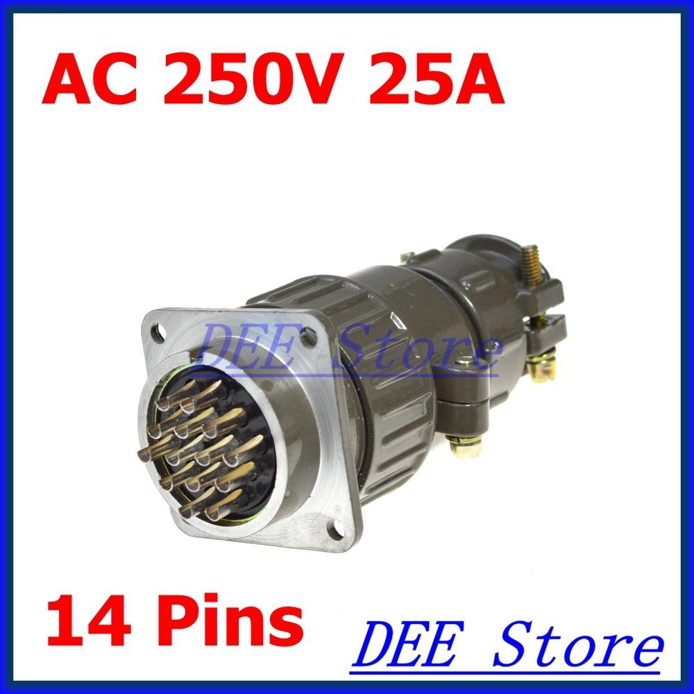 2.5mm Dia AC 250V 14 Pins Aviation Circular Plug Connector P32K4Q цены